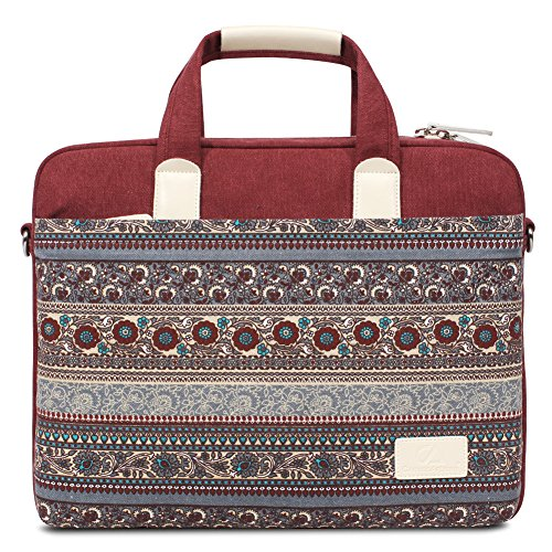 Feisman 13-Zoll Canvas Laptop & Tablet-Tasche, Laptop Messenger Schultertasche Hülle Aktentasche für 13-13,3 Zoll MacBook Pro, MacBook Air, Notebook-Computer -(Rot)
