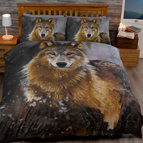 Just Contempo moonilight Wolf Bettbezug Set, Double, Polycotton, braun, King Size