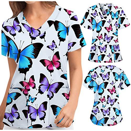 Briskorry Casaca para mujer, multicolor, con dos bolsillos, manga corta, para hospital, ropa de trabajo, uniforme de enfermera, azul, L