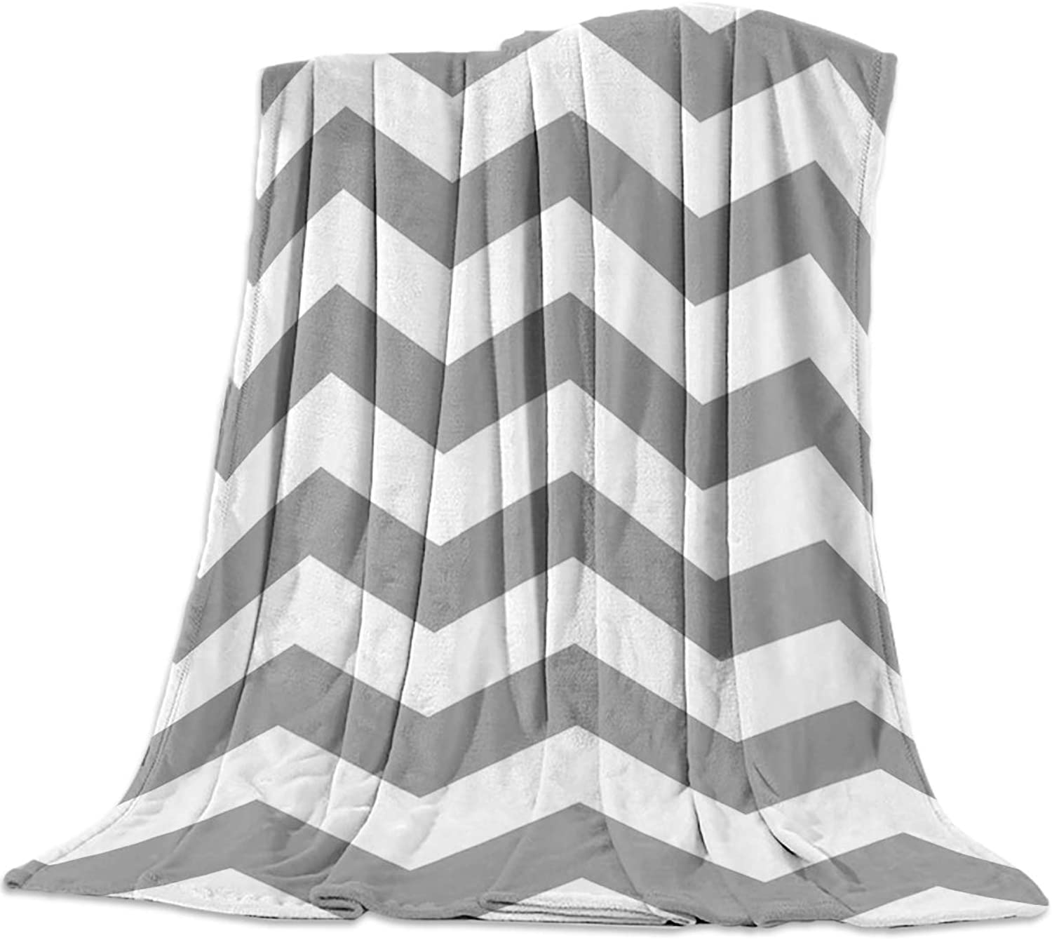 YEHO Art Gallery 49x59 Inch Flannel Fleece Bed Blanket Soft ThrowBlankets for Girls Boys,Grey and White Chevron Zigzag Wave Pattern,Cozy Lightweight Blankets for Bedroom Living Room Sofa Couch