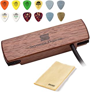 Seymour Duncan Woody HC Hum-Canceling Soundhole Pickup, Walnut - Bundled with Dunlop Acoustic Pick Pack and Cleaning Cloth
