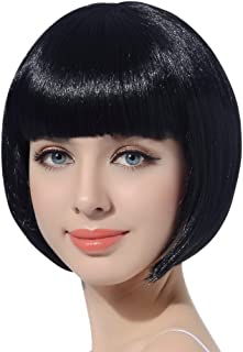 Black Short Bob Cosplay Flapper Wig-Synthetic Costume Women's Natural Looking Halloween Party Christmas Bangs Wigs