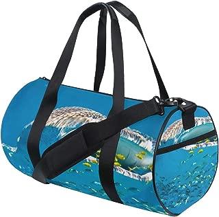 Women Gym Bag White Hat Funny Rabbit Mens Camp Duffel Bags Duffle Luggage Travel Bag