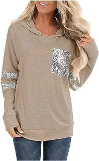 Women Hoodies Pullover Tops, Ladies Solid Striped Pocket Long Sleeve Swaetshirt Coat