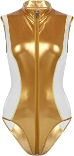 30b5c4565fdb0 FEESHOW Women s Sexy Wet Look Faux Leather Mock Neck Zipper Front Teddy  Bodysuit