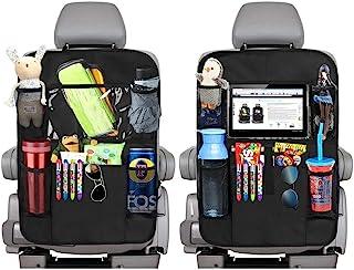 2 Stück Auto Rückenlehnenschutz,Große Taschen und iPad Tablet Halter,Auto Rücksitz Organizer für Kinder,Kick Matten Schutz für Auto(schwarz)