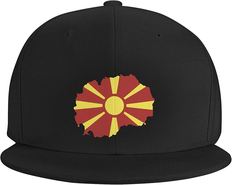 Macedonia Map Country of Europe Flat Brim Baseball Hat Cowboy Hat Sun Hat Unisex