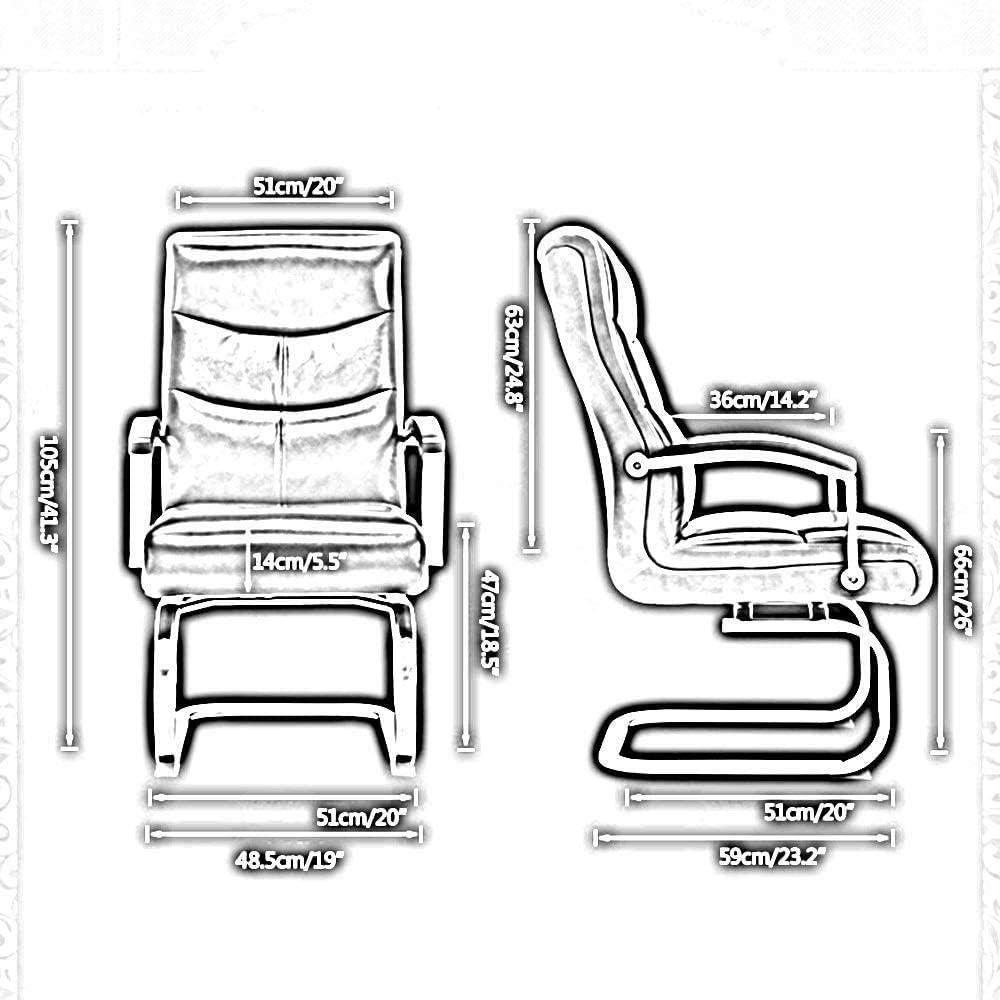Chaise De Bureau Chaise De Bureau De Jeu en Cuir PU À Dossier Haut Bow Foot Executive Et Chaise Pivotante Ergonomique pour Salle De Réunion De Bureau - Beige Noir
