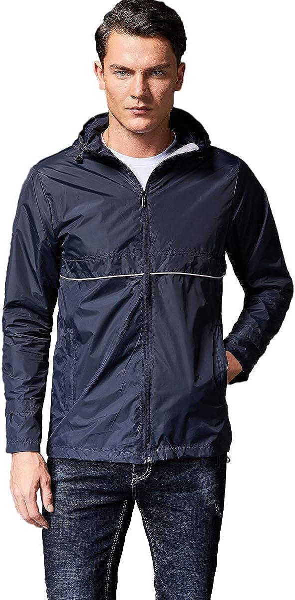 Prettychic Men's Waterproof Rain Lightweight Department Weekly update store Jacket Windbreaker