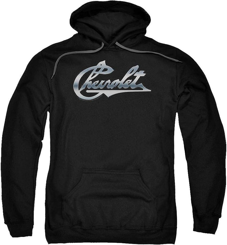 Chevy Men's Chrome Vintage Chevy Bowtie Hooded Sweatshirt Medium Black