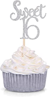 Giuffi Silver Sweet 16 Cupcake Toppers Sixteenth / 16th Birthday Party Decorations