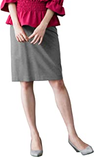 ANGELIEBE エンジェリーベ マタニティ 産前 産後 対応 フィット タイト スカート (3レングス展開 ) 妊婦服 仕事着 S ミドル 丈 杢 グレー 21621 21621350