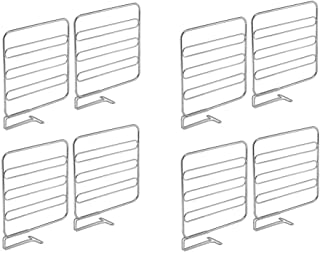 mDesign Versatile Metal Wire Closet Shelf Divider and Separator for Storage and Organization in Bedroom, Bathroom, Kitchen and Office Shelves - Easy Install - 8 Pack - Chrome
