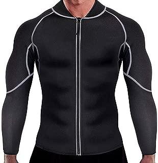 iLOOSKR Outdoor Indoor Men's Sweat Weight-Loss Body-Building Elastic Sport Long Sleeves Jacket Coat Top
