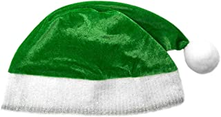 Child Green Plush Santa Hat - Kids Holiday Xmas Christmas Costume Party Hat