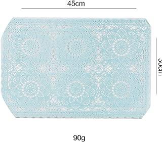 Table Placemat Pot Plate Bow Holder Mat French Lace PVC Dinner Desk Decoration Thermal Insulation 2PCS,Blue,30x45CM 2PCS