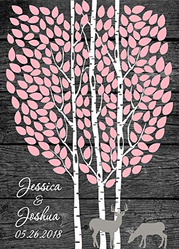 Wedding guestbook tree print- guest book tree for signatures- Wedding Decor Paper Deer Rustic Theme Custom Colors