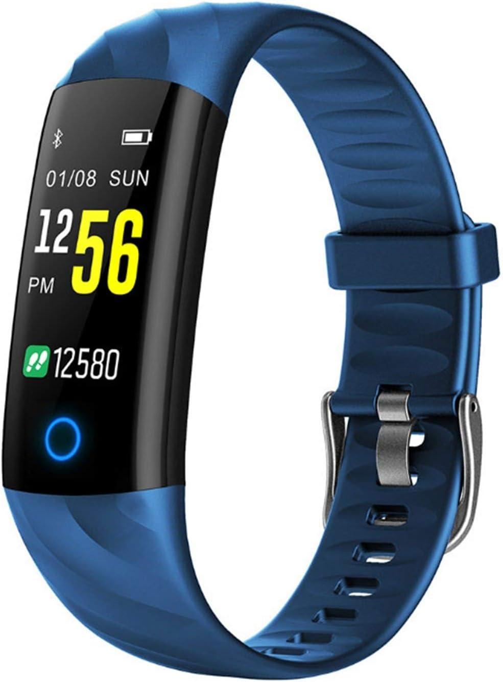 XUEMEI Smart Watch Carey Fitness Pulsera Presión Arterial Monitor De Presión Arterial IP68 Actividad Impermeable Banda Inteligente para iOS (Color : Blue)