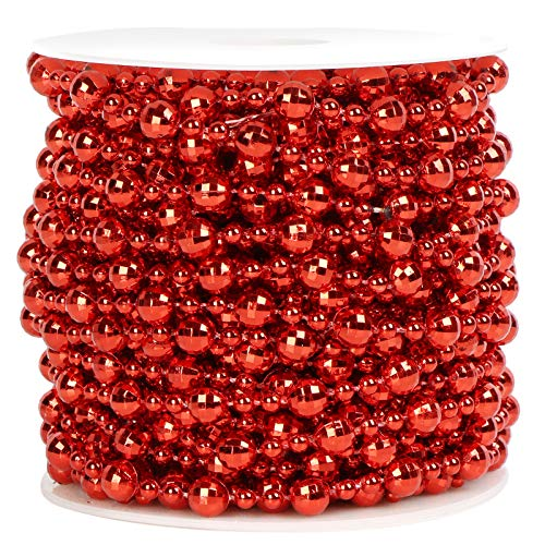 ZTING 50 Feet Christmas Tree Beads Artificial Plastic Pearls Beads Garland Spool Rope for Christmas Wedding Holiday DIY Home Decoration Supplies (Red)
