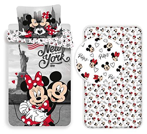 Minnie y Mickey New York - Juego de cama individual de 3 piezas, funda de edredón + funda de almohada + sábana con esquinas de algodón