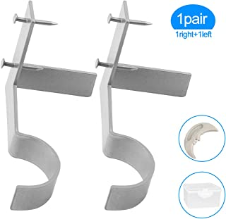 Yoaokiy Single Curtain Rod Brackets, 1Pair, Silver, Curtain Rod Holders Tap Right Into Window Frame - Adjustable Curtain Rod Brackets for Window Bedroom Decoration