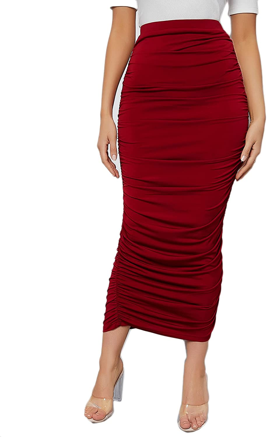 Verdusa Women's High Waist Ruched Side Solid Long Bodycon Pencil Skirt