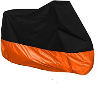 HANSWD Motorcycle Dust Cover Waterproof Uv Cover For Yamaha Kawasaki Universal (XXXL, Black and Orange)