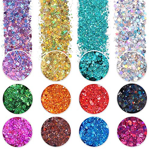 12 Color Chunky Nail Glitter Body G…
