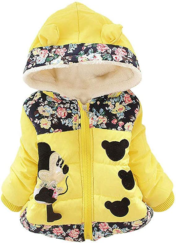 Baby Girls Toddler Fall Winter Warm Snowsuit Polka Dot Thick Coat Jacket Outerwear Cartoon Minnie Fashion Padded Mouse Ear Bow Hood Hoodies Kids Clothes