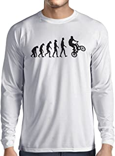 lepni.me Long Sleeve t Shirt Men Human Evolution and Bike - Bicycling – Bicycle Accessories, Cycling Apparel