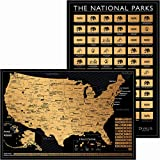 2 in 1 Gift Set - Scratch Off US Map and 62 National Parks Poster - 24x16 Easy to Frame Scratchable United States of America Posters - Globetrotters Wall Map - Black and Gold Travel Tracker