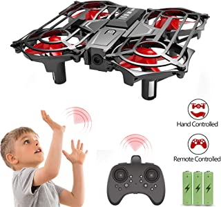 Mini Drone for Kids, Hand Operated Scoot Mini RC Quadcopter Easy Force Indoor Flying 360 UFO Remote Control Helicopter with Mutual Induction Mode Altitude Hold for Children Adults Beginners Toys Gifts