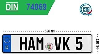 KFZ Kennzeichen Autokennzeichen Wunschkennzeichen Saisonkennzeichen Nummernschild PKW Kennzeichen Fahrradträger Anhänger Elektro Auto Oldtimer reflektierend individualisierbar 1x EU520x110x1mm