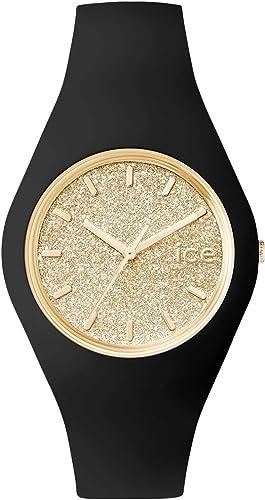 Ice-Watch - ICE glitter Black Gold - Montre noire pour femme avec bracelet en silicone