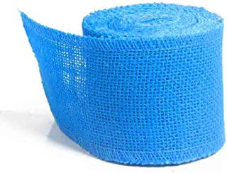 AAYU Blue Burlap Ribbon Rolls 3 inch x 5 Yards | Perfect for Rustic Wedding Decorations, Baby Showers, Tie-Backs, Wreaths, Bows, Gift & Tree Wrapping, Crafts (Blue)|