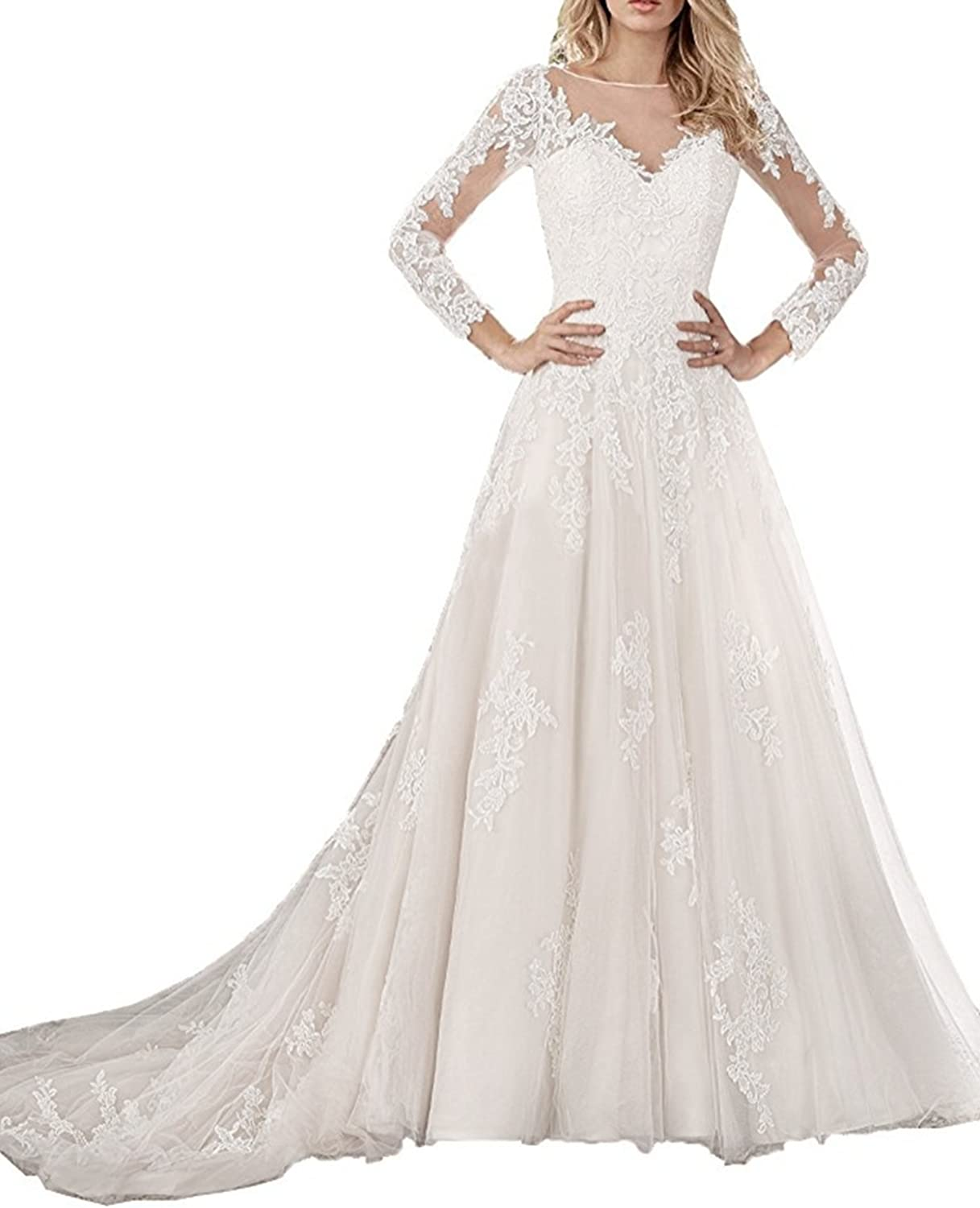 Ruiyuhong Illusion Neck Lace Bridal Dress Long Sleeve Tulle Wedding Gown RHS58