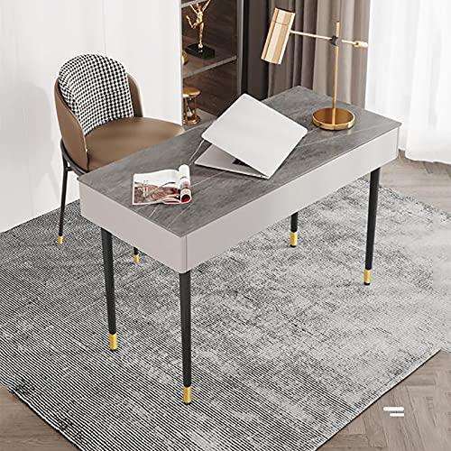 Mesa de Escritura de Estudio Escritorio de Computadora Cajón de Almacenamiento Esquina Redonda Marco de Metal Estable Ergonómico Fácil Montaje Estilo Moderno Simple