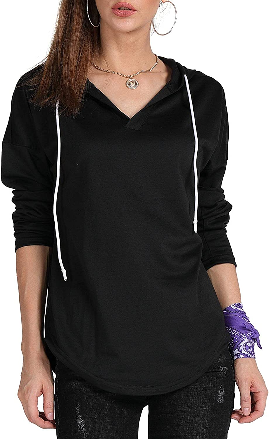 MAGICMK Women's Import Deep New mail order V Neck Curved Long Sleeves Drawstring