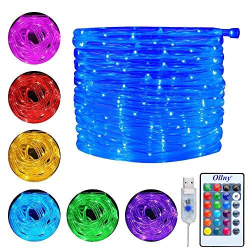 Ollny LED Schlauch RGB Außen 10M 100 LED mit USB, IP68 Wasserdicht Lichtschlauch 16 Farben 4 Modi mit Fernbedienung & Timer für Weihnachten Party Balkon Hochzeit Geburtstag Deko