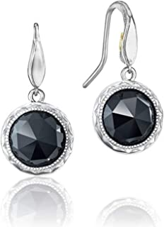 SE15519 Sterling Silver Black Onyx Simply Lilac Blossoms Drop Earrings