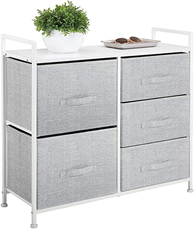MDesign Wide Dresser Storage Tower Sturdy Steel Frame Wood Top Easy Pull Fabric Bins Organizer Unit For Bedroom Hallway Entryway Closets Textured Print 5 Drawers Gray White