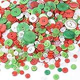300g Botones Resina Redondo 2 y 4 Agujeros Costura Manualidades DIY Scrapbooking Bricolaje Artesanía Decoración Navidad Colores Verde Rojo Blanco