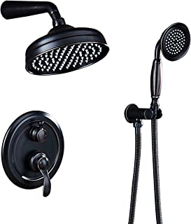 AUKTOPT Rainfall Shower Head System with Handshower Bathroom Luxury Rain Mixer Combo Set, Oil Rubbed Bronze(Contain Faucet Rough-in Valve), B,
