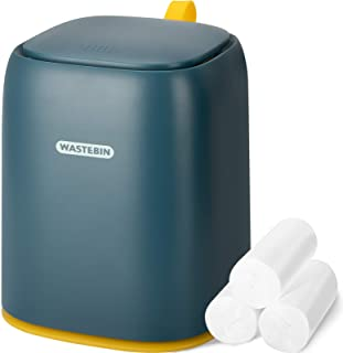 Mini Countertop Trash Can with 3 Trash Bags, Modern Waste Can with Press Type Lid, 1.5 L / 0.40 Gal Wastebasket Trash Can ...