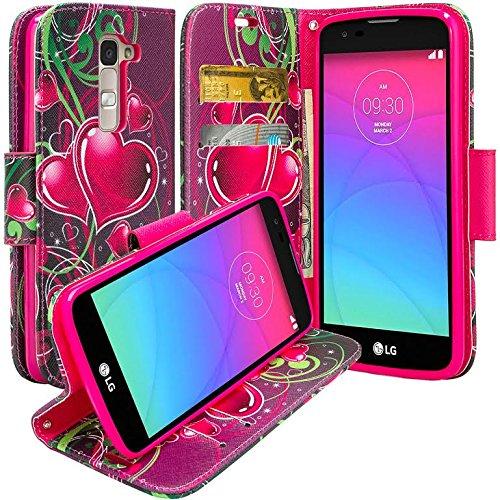 LG K7 Case, LG Tribute 5 Case, LG K7 Wallet, LG Tribute 5 Wallet, Wrist Strap Flip Folio [Kickstand Feature] Pu Leather Wallet Case with ID&Credit Card Slot for LG K7 / LG Tribute 5, Purple Heart