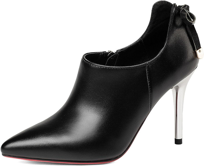 Nine Seven Genuine Leather Women's Pointed Toe Stiletto Metal Heel Elegant Dressy Handmade Sexy Pumps