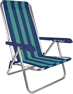 MOR 4-Position Aluminum Beach Chair - (Pack of 1) - (Blue & Green Stripe)