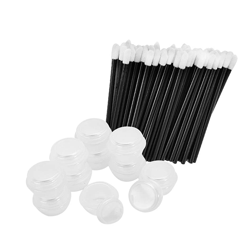 便利充電屈辱するPerfk 約50本使い捨てリップブラシ 10個空リップクリームケース ソフトリップメイクブラシ 唇メイクアップ