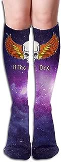 Design Ride Or Die Orange Flag Skull Girl Full Socks Long Socks Knee High Socks