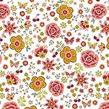 Hans-Textil-Shop Stoff Meterware Blumen Schmetterlinge